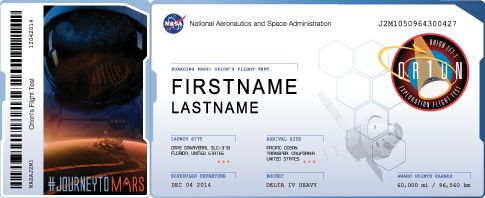 I just sent my name to fly on Orion's flight test, scheduled to launch Dec. 4 - 6, 2014! Orion is NASA's new spacecraft that will carry humans into deep space.  View My Boarding Pass: http://mars.nasa.gov/participate/send-your-name/orion-first-flight/?cn=698383 Get Your Own Boarding Pass On NASA's #JourneyToMars ! Send your name here: http://go.usa.gov/vcpz
