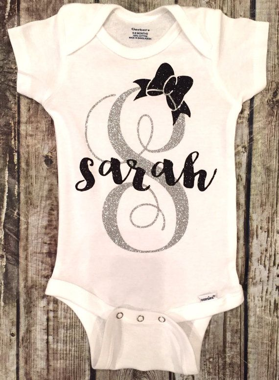 Baby Girl Sparkle Onesie Monogram Letter Onesie Name by ALGDezigns