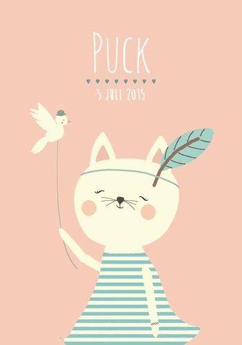 Geboortekaartje meisje - Puck - Pimpelpluis  https://www.facebook.com/pages/Pimpelpluis/188675421305550?ref=hl (# poes - kat - vogel - dieren - veer - pluim - schattig - lief - origineel)