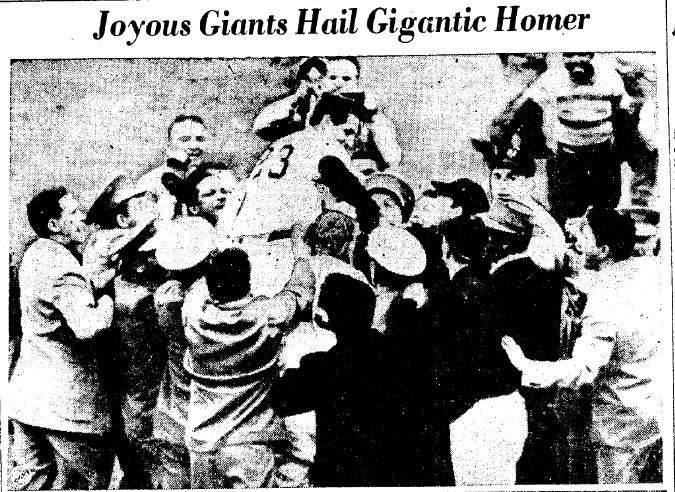 "Photo of the New York Giants celebrating after Bobby Thomson's home run won the 1951 National League pennant, published in the Trenton Evening Times newspaper (Trenton, New Jersey), 4 October 1951. Source: Wikimedia Commons. Read more on the GenealogyBank blog: ""Baseball History: Thomson's ""Shot Heard 'Round the World."" http://blog.genealogybank.com/baseball-history-thomsons-shot-heard-round-the-world.html"