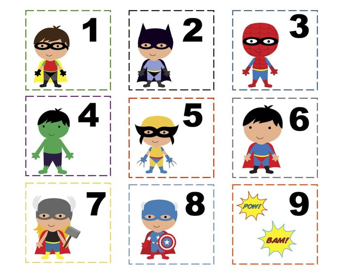 printable numbers | Preschool Printables: Super Hero Printable 2