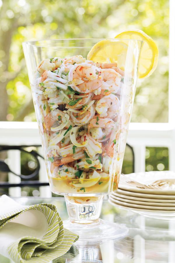 Spicy Pickled Shrimp - Southern Style Shrimp Recipes - Southernliving. Spicy Pickled Shrimp makes an elegant presentation of this Lowcountry favorite. Flavors pop after the shrimp marinate with onions and a tangy vinaigrette overnight. Serve with cocktails or on lettuce leaves as a plated first course.  Recipe:Spicy Pickled Shrimp
