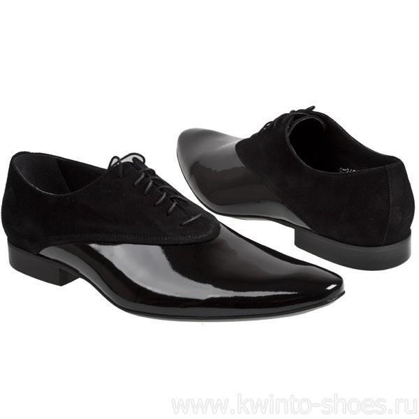 Лаковые туфли мужские с черным мысом