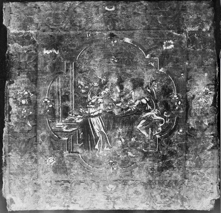 """X-ray image of tapestry. Metal elements appear bright white revealing highlighted areas. Wool and silk threads are in a range of greys. X-ray image by Cristina Balloffet Carr. """"Abraham Entertaining the Angels"""" from Scenes from the Lives of Abraham and Isaac Date: ca. 1600 Culture: Flemish Medium: Wool, silk, silver-gilt thread (21 warps per inch, 9 per cm.) Dimensions: H. 19 3/4 x W. 20 inches (50.2 x 50.8 cm)Credit Line: Gift of George Blumenthal, 1941 Accession Number: 41.100.57e"""