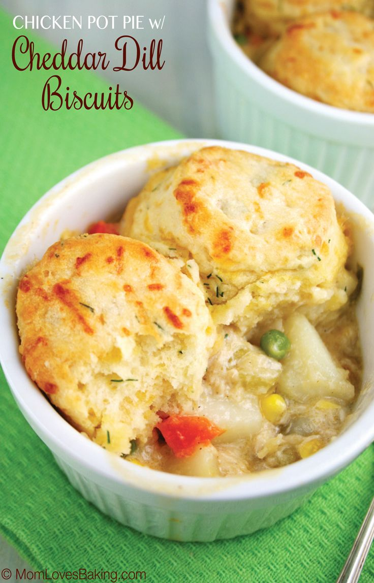 A creamy homemade chicken filling with fresh veggies, topped with made from scratch cheddar cheese and fresh dill biscuits. To die for!
