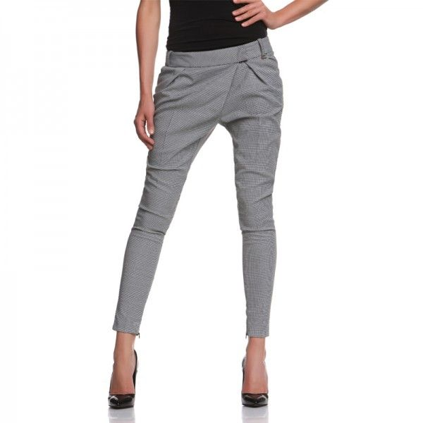 PANTALONE ROMAN PIED DE POULLE Pants with soft fit to the pelvis and lacing bend to the left.  Soft leg that becomes very narrow at the bottom. http://shop.mangano.com/en/273-pants