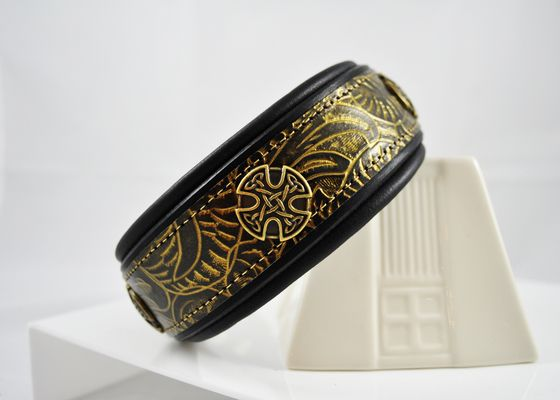 You can customize your black and gold western tooled saddle leather dog collar with your choice of lining and add a concho or two to make a unique dog collar.