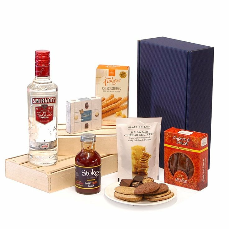 Great gift for a vodka fan, Smirnoff midnight feast hamper including cheese and smoked chorizo…