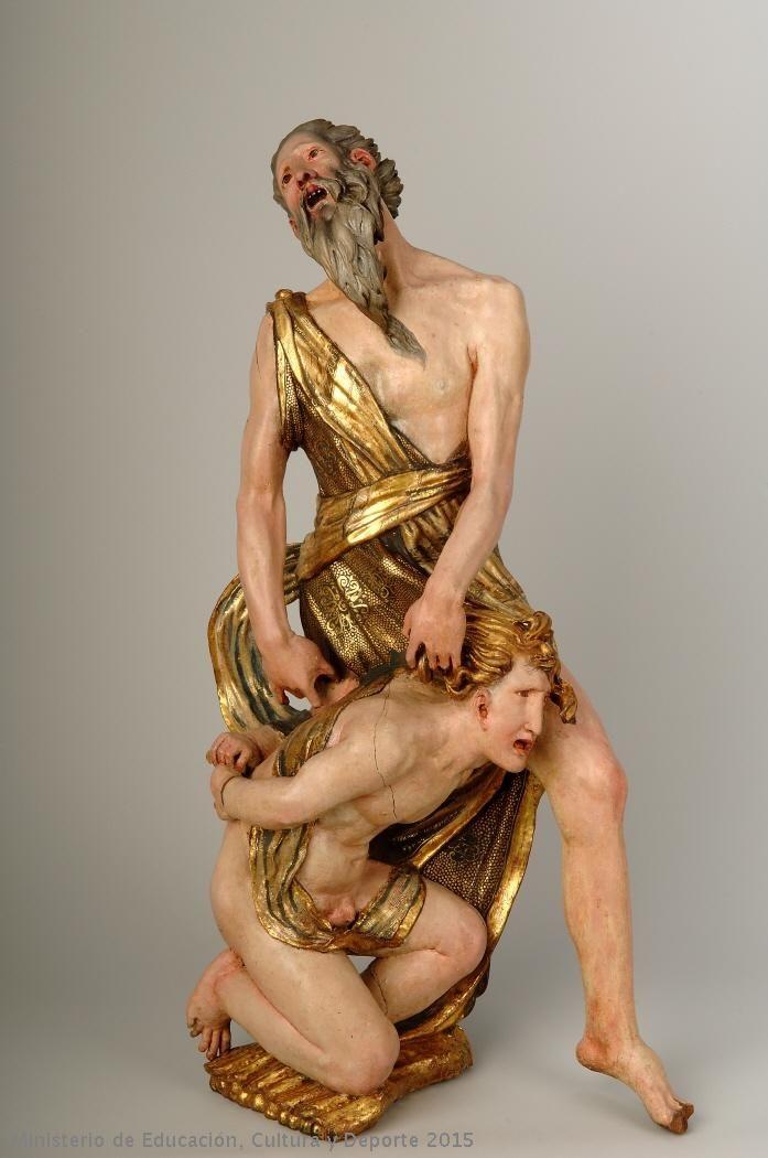 ALONSO BERRUGUETE: Sacrificio de Isaac. Pertenece al retablo de San Benito de Valladolid, hoy en el Museo Nacional de Escultura.
