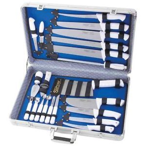 slitzer 22pc professional chef 39 s cutlery set w case white handles knife knives m th c. Black Bedroom Furniture Sets. Home Design Ideas