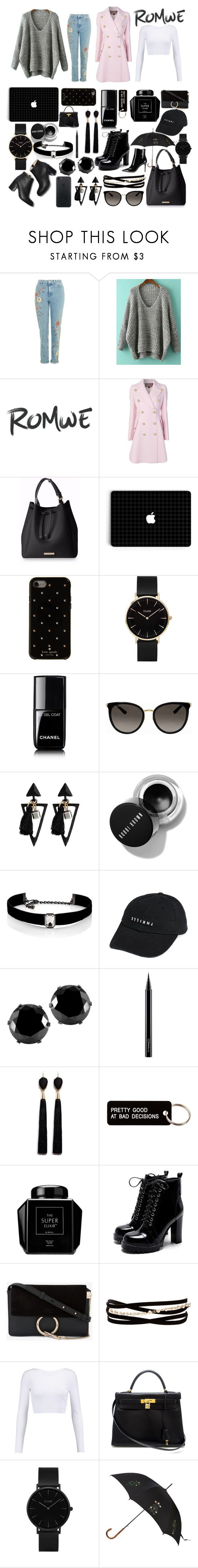 """""""Romwe"""" by xoxeloisexox ❤ liked on Polyvore featuring Giambattista Valli, Kate Spade, CLUSE, Chanel, Gucci, Kenneth Jay Lane, Thrills, West Coast Jewelry, MAC Cosmetics and Mignonne Gavigan"""