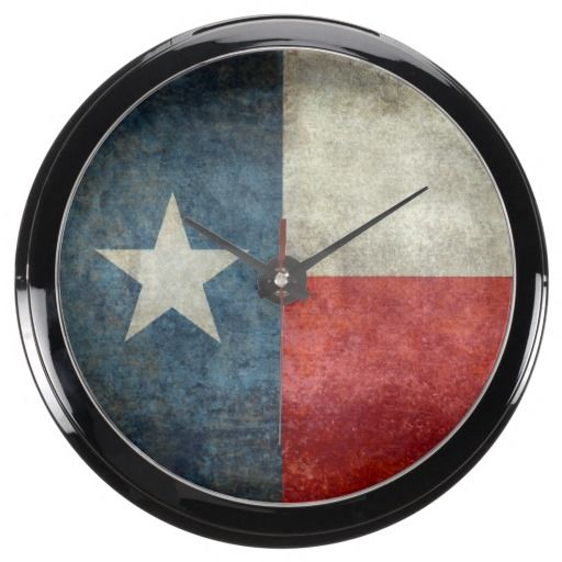 Texas state flag vintage retro style Aqua Clock  #Texas #state #flag #retro, USA, #texasflag #texasstateflag #american #america #vintage #lonestarflag, #texan #retrostyle #Texanflag