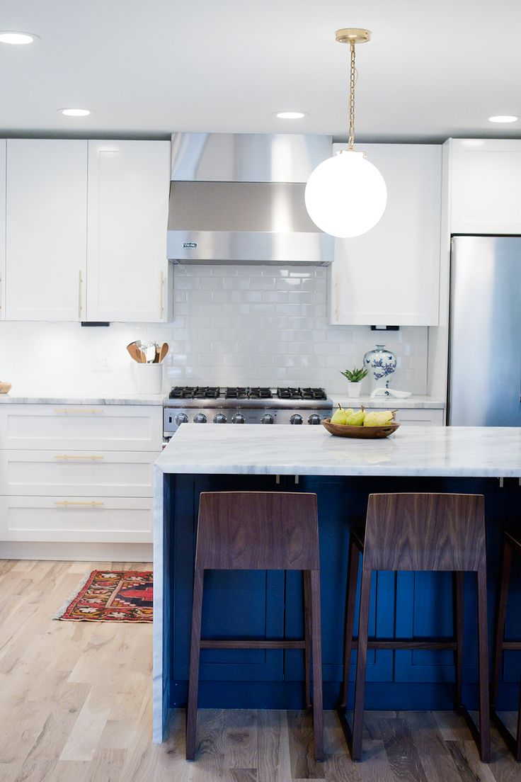 Mid century modern transitional kitchen atlanta by beauti faux - A Kitchen Reveal For A Mid Century Modern Remodel White Cabinets Navy Island