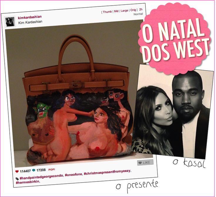 Quando a gente achava que o ano já tinha acabado, que as memes já tinham encerrado, que os posts já tinham esgotado, SEMPRE chega a Kardashian Family e coloca nosso plantão em alerta, observe opresente do Kanye para a Kim: OMFG! Kanye, quem diria, seguiu a onda e mandou desenhar uma arte numa it bag …