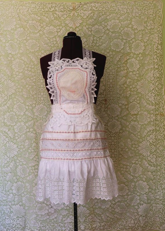 GORGEOUS!! Love this seller. victorian apron shabby chic apron wedding by allthingsoldarenew, $89.00