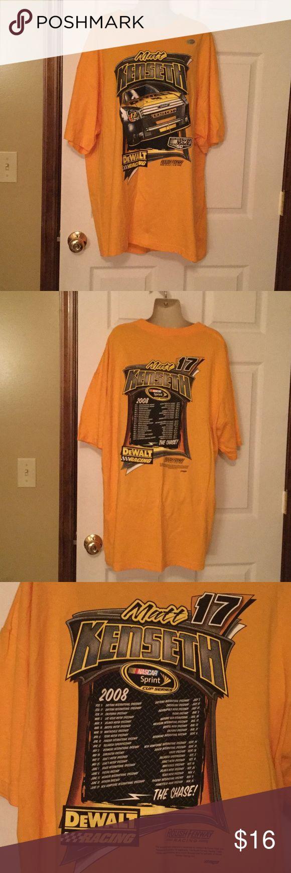 Matt Kenseth nascar Tee Shirt NWT 100 percent cotton.  2XL dark yellow in color, nascar Shirts Tees - Short Sleeve
