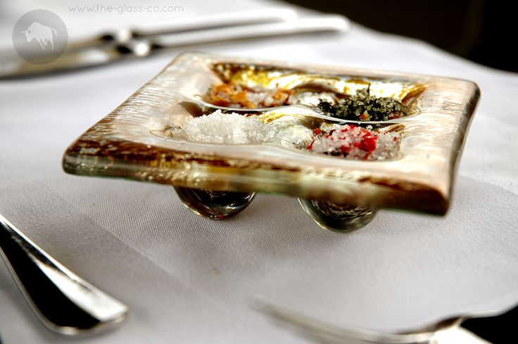 #Artisan #Salt Artisan salt is a popular food trend. Present it with a handmade glass gourmet salt presentation plate designed by www.the-glass-co.com Code: SC-04-03 Ask us at info@myglassstudio.com