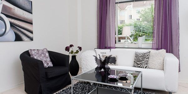 Purple, Black and White ... A great color combination for your modern living room