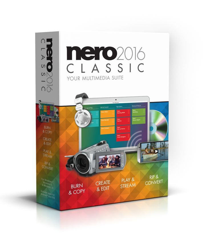 "Nero 2016 Classic - ""the Alllrounder"" for your digital Jobs. Whether you're burning, copying, creating, editing, playing, streaming, ripping, or converting, whether your PC, camera, or smartphone – your multimedia files are in the safest hands with Nero."
