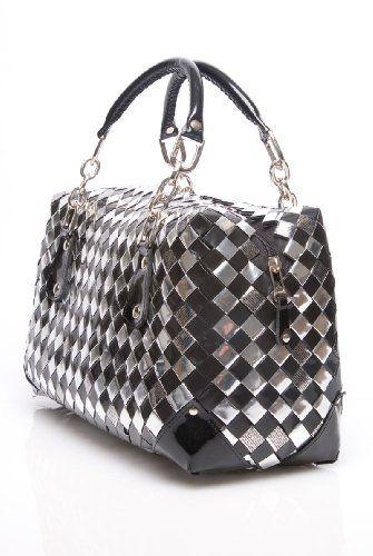 Nahui Ollin Silver Black ER2 Bag - http://handbagscouture.net/brands/nahui-ollin/nahui-ollin-silver-black-er2-bag/