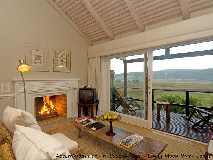 Fire place for when it is cold at Emily Moon River Lodge. Plettenberg Bay accommodation. Accommodation in Plettenberg Bay. Lodge accommodation Plettenberg Bay.