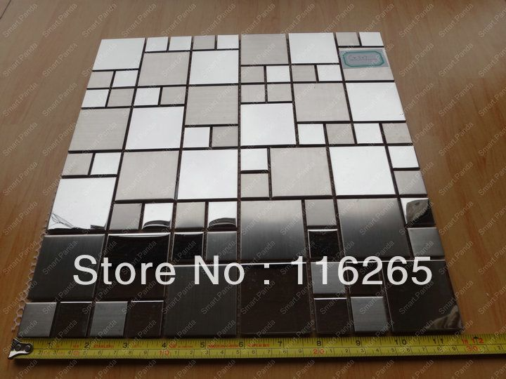 don't deliver to US but I like this idea    Stainless Steel Mosaic tile Backsplash 1 Square feet MIN 10 square feet order-in Mosaics from Home Improvement on Aliexpress.com