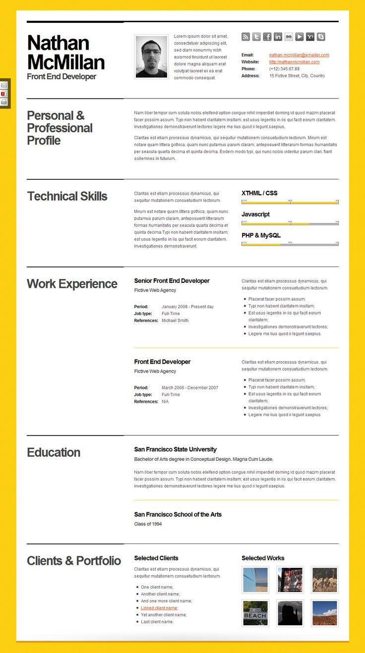 The  Best Curriculum Vitae Cv Images On   Creative