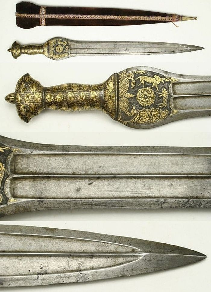 Pahari sword (cobra sword), this type of sword is generally referred to as Indo-Afghan, describing the mixed Indian and Afghan elements, characterized by the Afghan style handle and Indian straight blade bulged at the ricasso, 19th century, double-edged blade fullered with armor-piercing tip and expanded forte, with symmetrical grip extensively inlaid with gold, the pommel terminating in bird's heads. It has a velvet-covered wooden scabbard with brass tip and embroidered binding. 65.5cm…