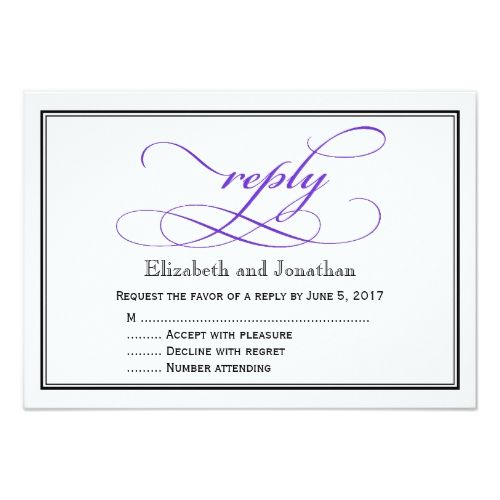 Purple and White Script Wedding Reply Card