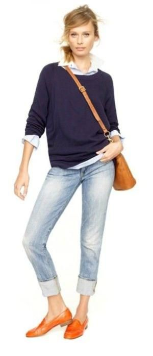 Preppy casual in a navy sweater, oxford shirt, cuffed light wash jeans, and a pop of color from the classic, but vibrant orange penny loafers. by ada