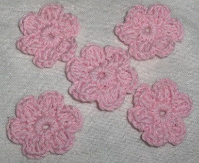 5 new crocheted flowers, appliques, embellishments, decoration, crochet flower, hat decor, crochet decor, baby hat decor by Hildescrochetshop on Etsy