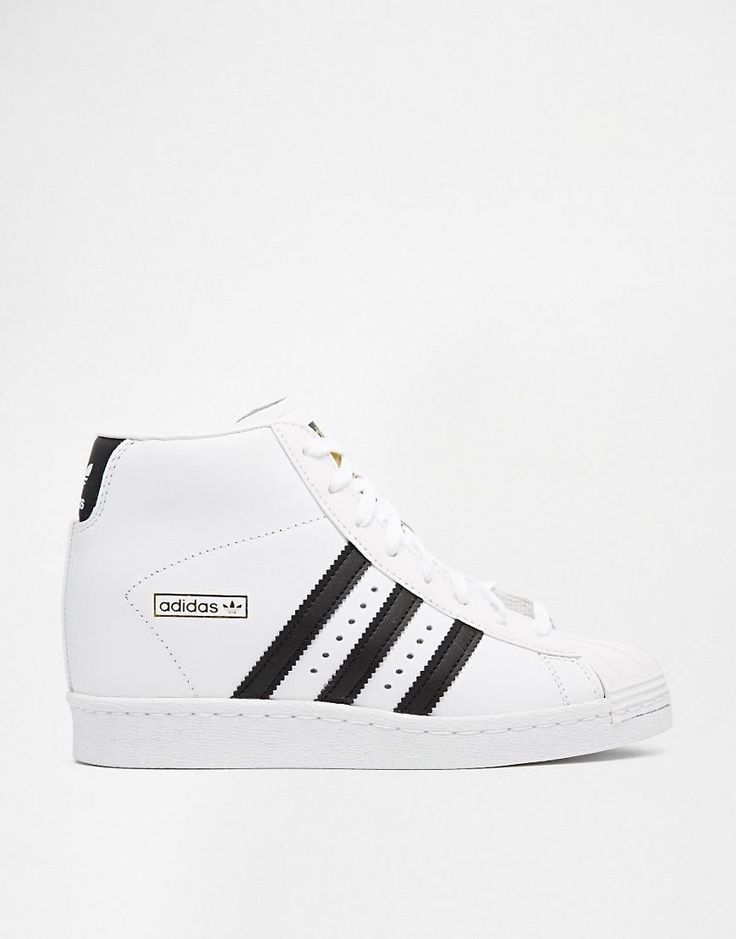 Adidas | adidas Originals Superstar Concealed Wedge White High Top Sneakers at ASOS
