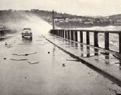 The Hobart Floating Bridge in Hobart. One of the scariest things I have ever encountered was going over this when the weather was rough.