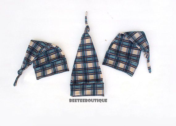 Blue Plaid Long Night Knot Hat  Knot Hat   by BeeTeeBoutique