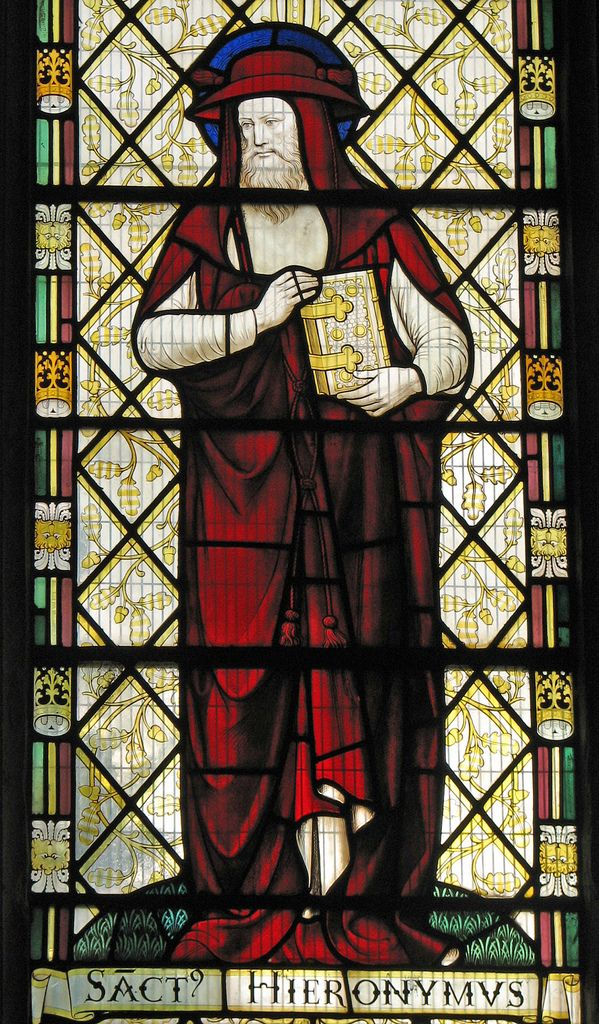 St Jerome  Fromm the Bishop West chantry chapel at Ely cathedral. St Jerome (ca. 347 – 420) is best known as the translator of the Bible from Greek and Hebrew into Latin. He also was a Christian apologist. Jerome's edition, the Vulgate, is still an important biblical text of the Roman Catholic Church. In the artistic tradition of the Roman Catholic Church it has been usual to represent him, the patron of Scriptural studies, as a cardinal.
