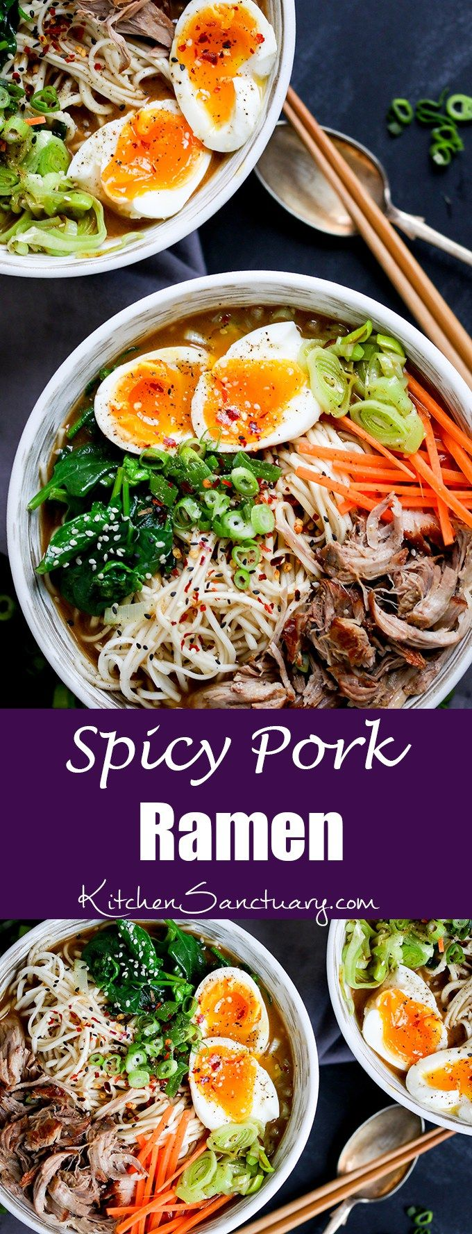 Spicy Pork Ramen - Slow cooked pork with noodles, veggies and a…
