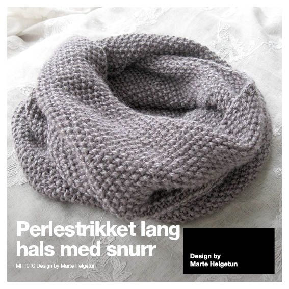 Perlestrikket lang hals med snurr - Dame - Oppskrifter og materialpakker - Design by Marte Helgetun