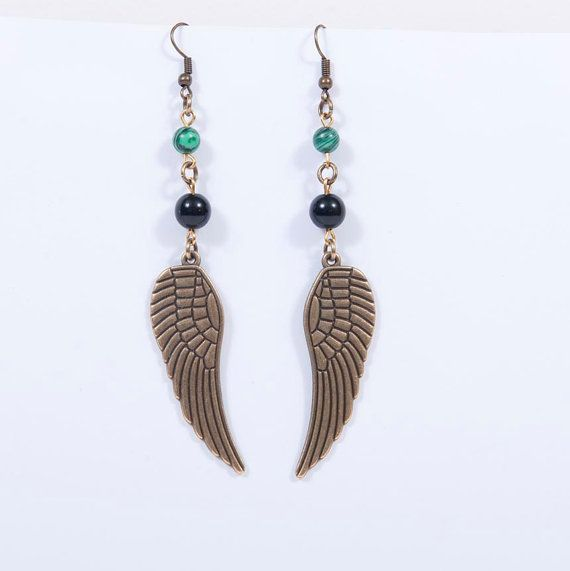 Check out this item in my Etsy shop https://www.etsy.com/listing/483390971/bronze-wings-earrings-with-malachite-and