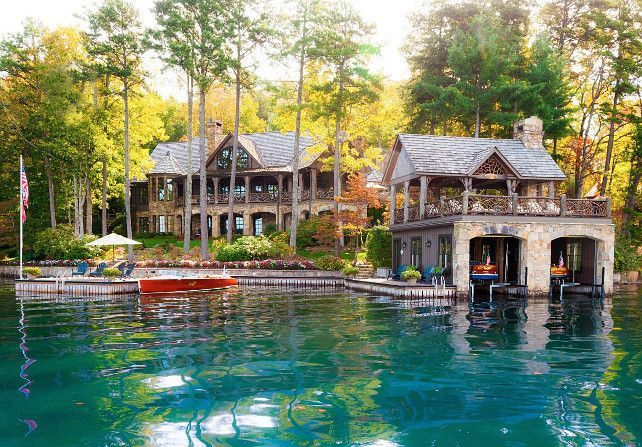 Lake House. Rustic Lake House in Tiger, Ga. Sunlight sparkles off the glassy lake surface, inviting guests to take a boat out or dive right in. The second story of the boathouse includes a spacious covered porch. #LakeHouse HGTV