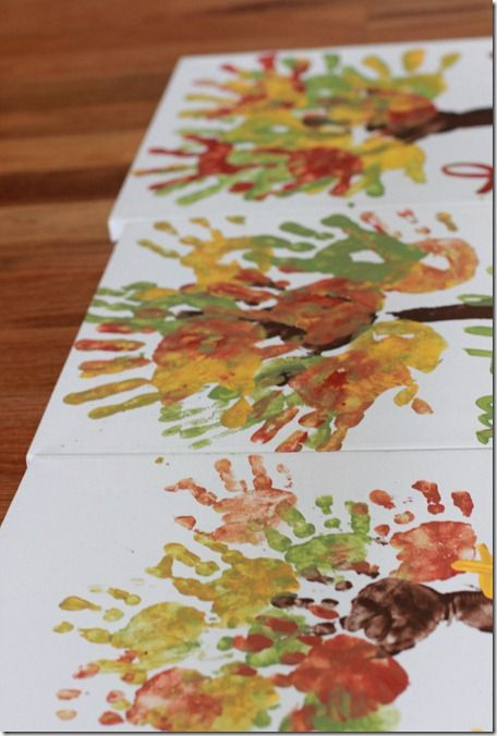Fall colored hands for leaves on a tree -to decorate our family poster for Thanksgiving @ Gammie's...I can write the things the kids are grateful for on their handprints for them...