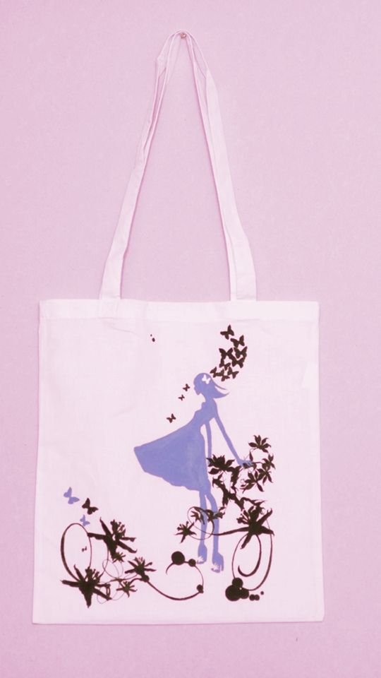 Tote bag handmade painted with textile colors. Spring breeze design.