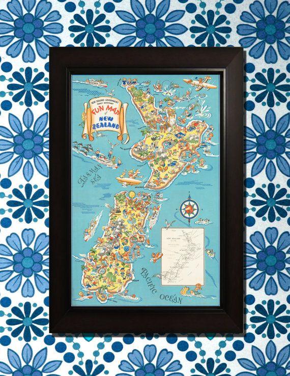 Nieuw-Zeeland reizen Poster  3 maten beschikbaar voor één