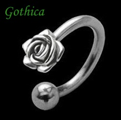 Classic Belly Piercing 925 Sterling Silver Rose Motif Surgical Steel Bar amp; Ba