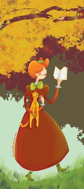 Coralie automne — Série de 4 signets sur le thème de la lecture. Chaque signet représentant une saison — 2009.