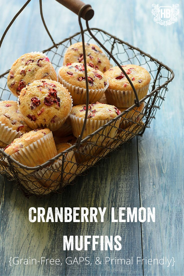 Grain Free Lemon Cranberry Muffins {GAPS, Primal, Paleo Friendly} - Honest Body