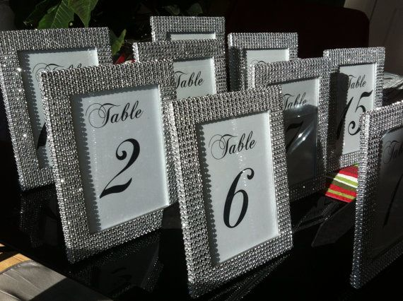 Set of (10) 5 x 7 Frames in Silver Rhinestone and (10) Table Numbers- Wedding or Special Event