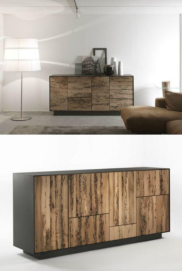 Briccola wood sideboard with drawers RIALTO MODULO 4 by Riva 1920 | #design Giuliano Cappelletti @riva1920