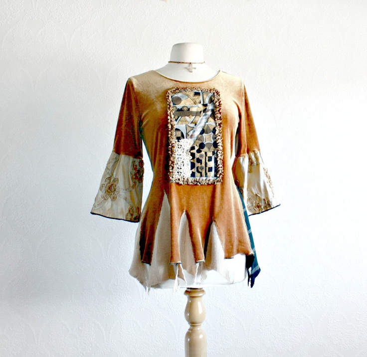 Golden Velvet Boho Chic Top Retro Bell Sleeves Gypsy Clothing Women's Brown Shirt Tattered Clothes