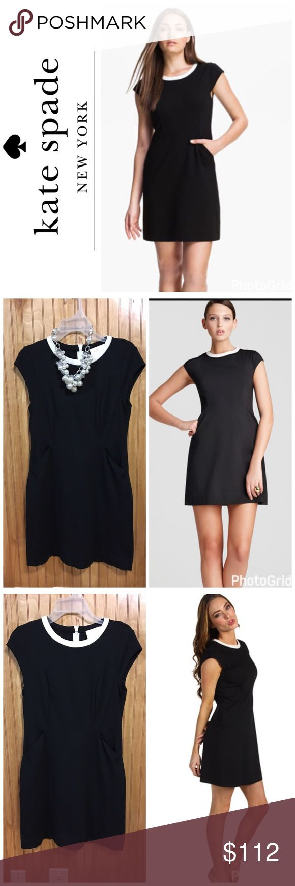 """🆕Kate Spade Little Black Dress Sz 6 Very elegant Kate Spade Little black dress. It has white collar and white zipper up the back. 34"""" in length, bust=33"""", waist=30"""", hip=34"""". Dress has stretch and has an A-line fit. Very classic and perfect for just about any occasion. Worn one time. EUC. Sz 6 kate spade Dresses"""