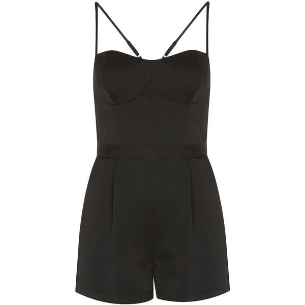 TOPSHOP Petite Satin Strappy Playsuit (175 RON) ❤ liked on Polyvore featuring jumpsuits, rompers, dresses, playsuits, shorts, black, petite, strappy jumpsuit, playsuit jumpsuit and playsuit romper